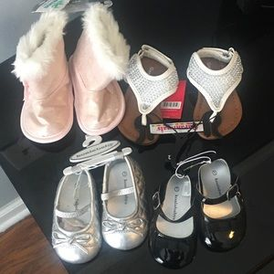 NWT 4 pairs infant girls shoes sz 1 2 3-6months